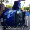 Car Flipped - Let's pose for a Pic