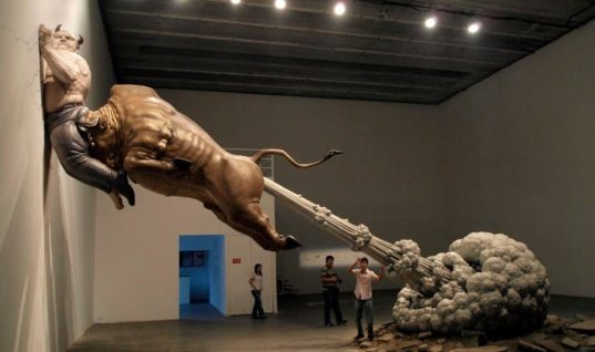 """""""Emergency exit"""" by sculptor Chen Wenling"""