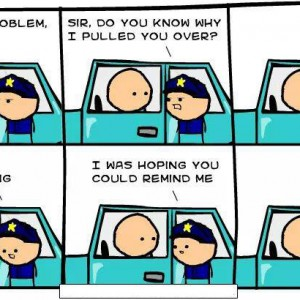 Cop pulled over and forgot