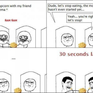Eating popcorn at a movie show