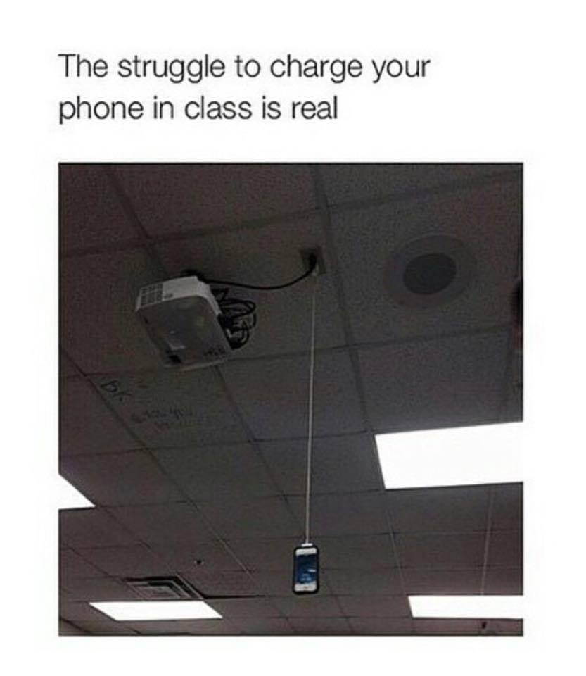 Charging phone in class