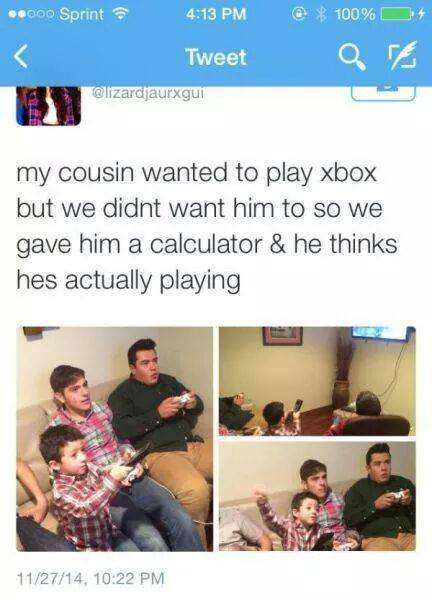 Kid wanted to play X-Box