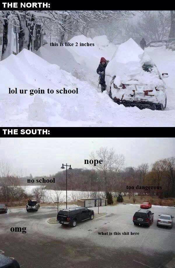 North Vs South In Winter Funny Pictures Quotes Memes