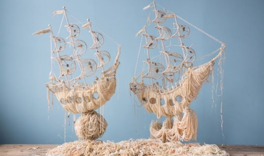 Ann Carrington 's Stunning Galleon Ships from Old Pearl Necklaces